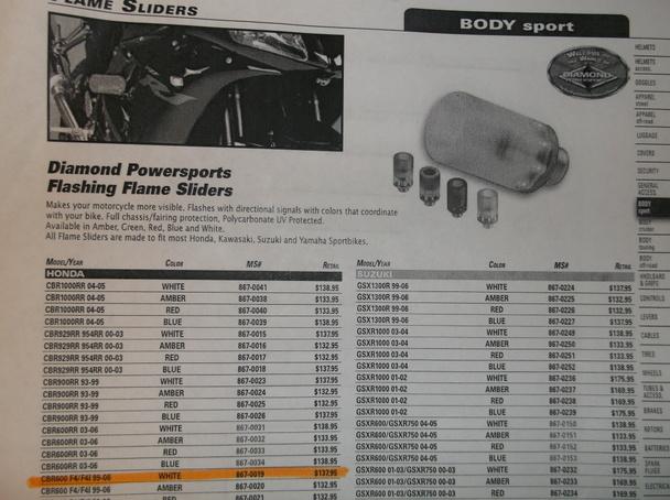 """$137 White /""""Lighted/"""" Frame Slider for a 1999-2006 Honda CBR600F4 /& CBR600F4I"""
