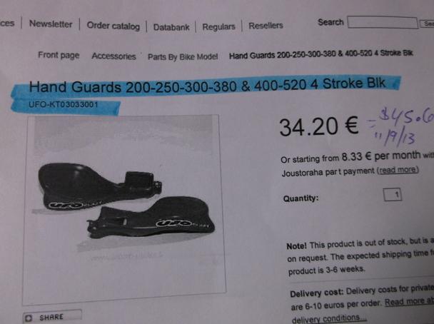 250 400 /& 520 Dirt Bikes Black UFO Plastics Handguards for KTM 200 300 380